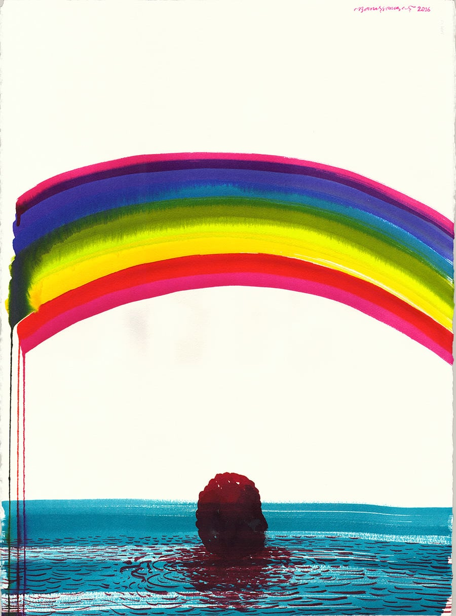 'Under the Rainbow and Lonely Man 2' Ecoline on Acid Free Paper 2016 76x56,5 cm